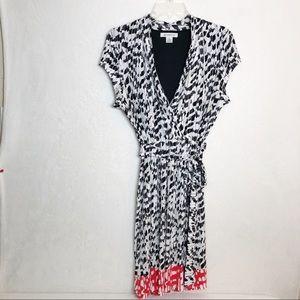 Liz Claiborne Black Red Faux Wrap Dress L  B18